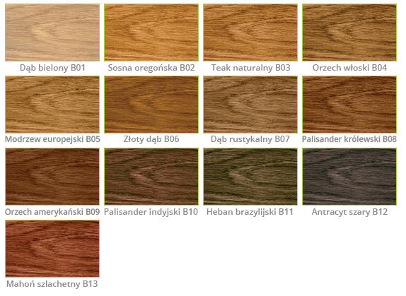 kolory bejc do drewna